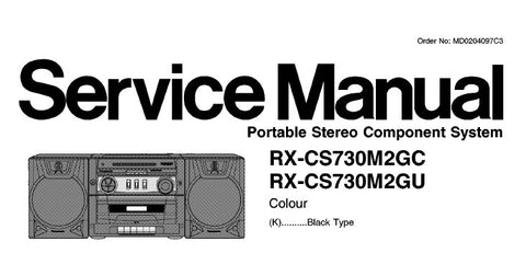 NATIONAL RX-CS730M2GC RX-CS730M2GU PORTABLE STEREO COMPONENT SYSTEM SERVICE MANUAL INC SCHEM DIAGS PCB'S WIRING CONN DIAG AND PARTS LIST 30 PAGES ENG