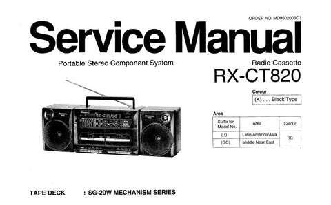 NATIONAL RX-CT820 PORTABLE STEREO COMPONENT SYSTEM SERVICE MANUAL INC SCHEM DIAG PCB'S WIRE CONN DIAG AND PARTS LIST 27 PAGES ENG