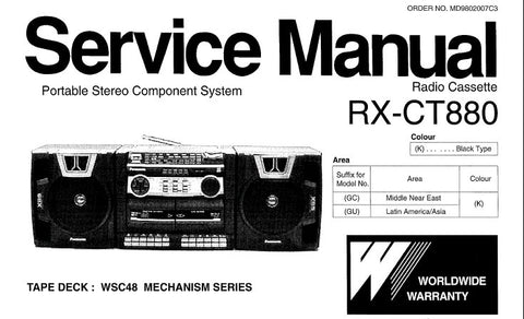 NATIONAL RX-CT880 PORTABLE STEREO COMPONENT SYSTEM SERVICE MANUAL INC WIRING CONN DIAG SCHEM DIAG PCB'S AND PARTS LIST 24 PAGES ENG