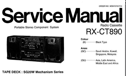 NATIONAL RX-CT890 PORTABLE STEREO COMPONENT SYSTEM SERVICE MANUAL INC SCHEM DIAGS PCB'S WIRING CONN DIAG AND PARTS LIST 34 PAGES ENG
