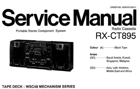 NATIONAL RX-CT895 PORTABLE STEREO COMPONENT SYSTEM SERVICE MANUAL INC SCHEM DIAGS PCB'S WIRING CONN DIAG AND PARTS LIST 34 PAGES ENG