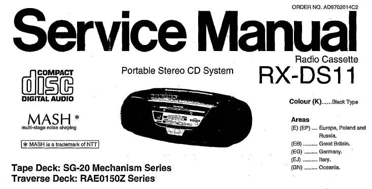 NATIONAL RX-DS11 PORTABLE STEREO CD SYSTEM SERVICE MANUAL INC SCHEM DIAGS PCB'S WIRING CONN DIAG BLK DIAGS TRSHOOT GUIDE AND PARTS LIST 44 PAGES ENG