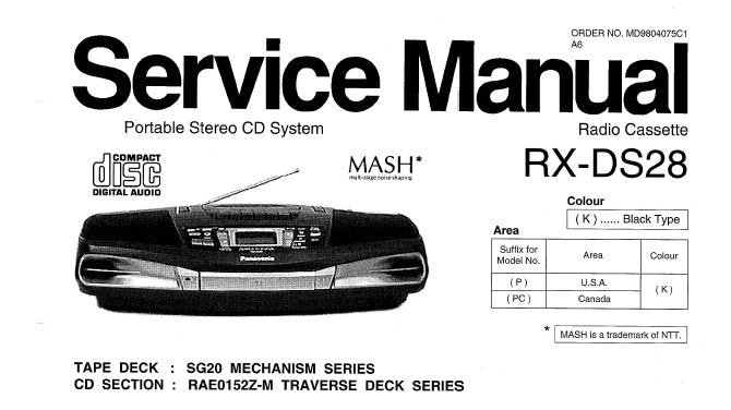 NATIONAL RX-DS28 PORTABLE STEREO CD SYSTEM SERVICE MANUAL INC WIRING CONN DIAG SCHEM DIAGS PCB'S TRSHOOT GUIDE AND PARTS LIST 40 PAGES ENG