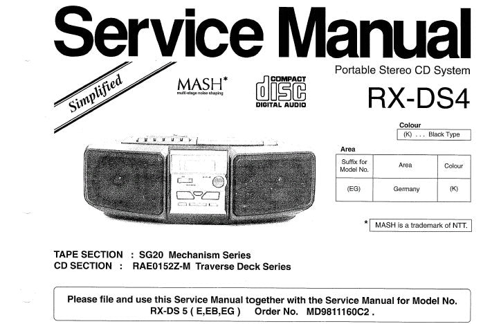 NATIONAL RX-DS4 PORTABLE STEREO CD SYSTEM SERVICE MANUAL INC SCHEM DIAG PCB AND PARTS LIST 8 PAGES ENG