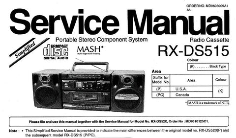 NATIONAL RX-DS515 PORTABLE STEREO COMPONENT SYSTEM SERVICE MANUAL INC PCB'S SCHEM DIAG AND PARTS LIST 8 PAGES ENG