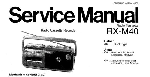 NATIONAL RX-M40 RADIO CASSETTE RECORDER SERVICE MANUAL INC SCHEM DIAG PCBS AND PARTS LIST 22 PAGES ENG
