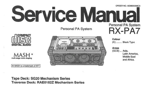 NATIONAL RX-PA7 PERSONAL PA SYSTEM SERVICE MANUAL INC CONN DIAGS SCHEM DIAGS WIRING CONN DIAG PCB'S TRSHOOT GUIDE BLK DIAG AND PARTS LIST 67 PAGES ENG