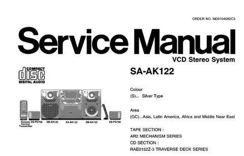 NATIONAL SA-AK122 VCD STEREO SYSTEM SERVICE MANUAL INC BLK DIAG SCHEM DIAGS PCB'S WIRING CONN DIAG TRSHOOT GUIDE AND PARTS LIST 92 PAGES ENG