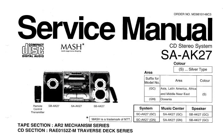NATIONAL SA-AK27 CD STEREO SYSTEM SERVICE MANUAL INC SCHEM DIAGS AND BLK DIAG 34 PAGES ENG