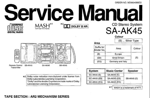 NATIONAL SA-AK45 CD STEREO SYSTEM SERVICE MANUAL INC WIRING CONN DIAG SCHEM DIAGS BLK DIAG PCB'S TRSHOOT GUIDE AND PARTS LIST 76 PAGES ENG