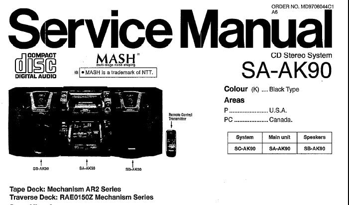 NATIONAL SA-AK90 CD STEREO SYSTEM SERVICE MANUAL INC CONN DIAGS SCHEM DIAGS BLK DIAG WIRING CONN DIAG AND PARTS LIST 100 PAGES ENG