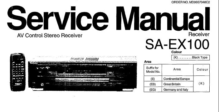 NATIONAL SA-EX100 AV CONTROL STEREO RECEIVER SERVICE MANUAL INC TRSHOOT GUIDE SCHEM DIAGS BLK DIAG WIRING CONN DIAG PCB'S AND PARTS LIST 36 PAGES ENG