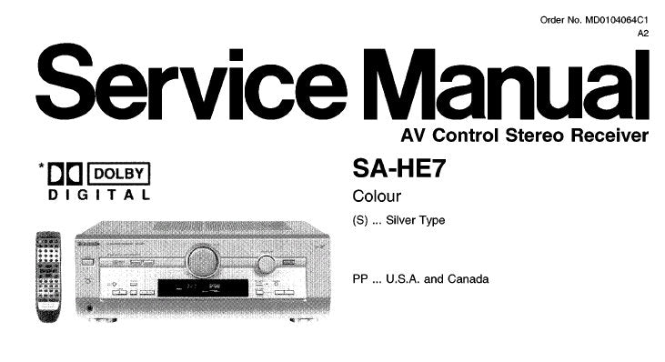 NATIONAL SA-HE7 AV CONTROL STEREO RECEIVER SERVICE MANUAL INC BLK DIAG SCHEM DIAGS PCB'S WIRING CONN DIAG AND PARTS LIST 53 PAGES ENG