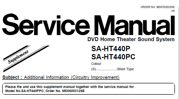 NATIONAL SA-HT440P SA-HT440PC DVD HOME THEATER SOUND SYSTEM SERVICE MANUAL INC BLK DIAG SCHEM DIAG PCB'S AND PARTS LIST 9 PAGES ENG
