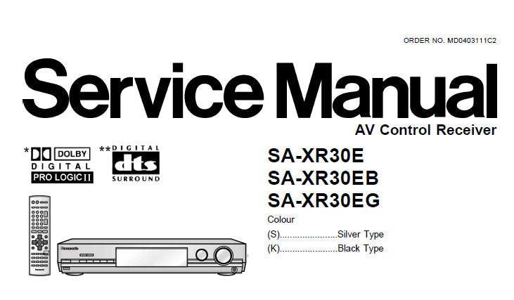 NATIONAL SA-XR30E SA-XR30EB SA-XR30EG AV CONTROL RECEIVER SERVICE MANUAL INC SCHEM DIAGS PCB'S BLK DIAG WIRING CONN DIAG AND PARTS LIST 90 PAGES ENG