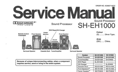 NATIONAL SH-EH1000 SOUND PROCESSOR SERVICE MANUAL INC SCHEM DIAGS PCB'S WIRING CONN DIAG AND PARTS LIST 15 PAGES ENG