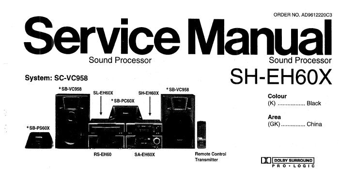 NATIONAL SH-EH60X SOUND PROCESSOR SERVICE MANUAL INC SCHEM DIAGS PCB'S WIRING CONN DIAG BLK DIAG AND PARTS LIST 20 PAGES ENG
