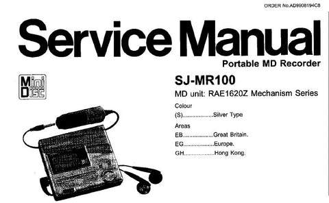 NATIONAL SJ-MR100 MD RECORDER SERVICE MANUAL INC TRSHOOT GUIDE SCHEM DIAG PCB'S BLK DIAG WIRING CONN DIAG AND PARTS LIST 75 PAGES ENG