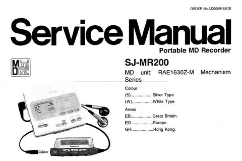 NATIONAL SJ-MR200 PORTABLE MD RECORDER SERVICE MANUAL INC TRSHOOT GUIDE SCHEM DIAG PCB'S BLK DIAG WIRING CONN DIAG AND PARTS LIST 57 PAGES ENG