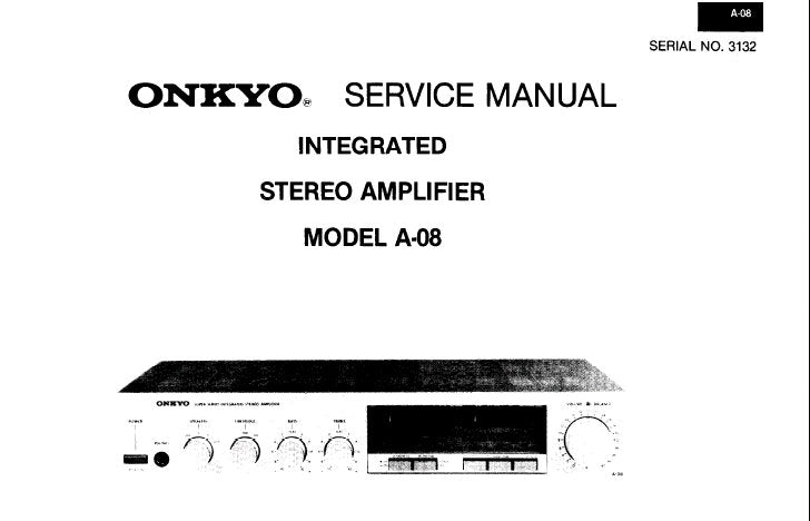 ONKYO A-10 INTEGRATED STEREO AMPLIFIER SERVICE MANUAL INC
