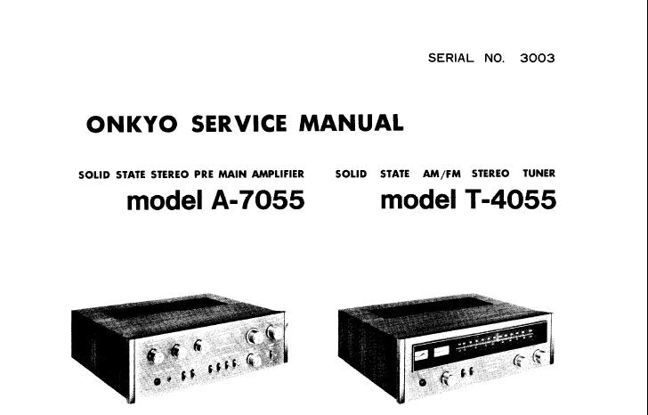 ONKYO A-7055 SOLID STATE STEREO PRE MAIN AMPLIFIER T-4055