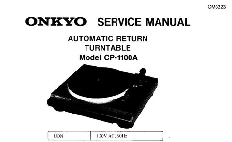 ONKYO CP-1100A AUTOMATIC RETURN TURNTABLE SERVICE MANUAL
