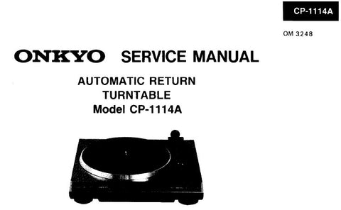 ONKYO CP-1114A AUTOMATIC RETURN TURNTABLE SERVICE MANUAL
