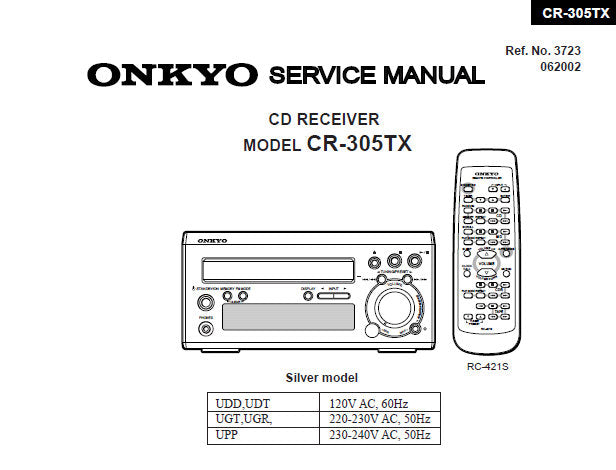 ONKYO CR-305TX CD RECEIVER SERVICE MANUAL INC PCB CONN
