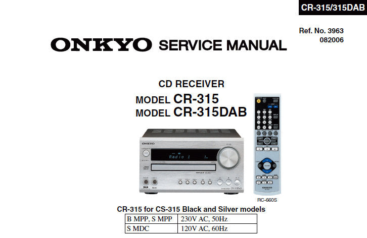 ONKYO CR-315 CR-315DAB CD RECEIVER SERVICE MANUAL INC
