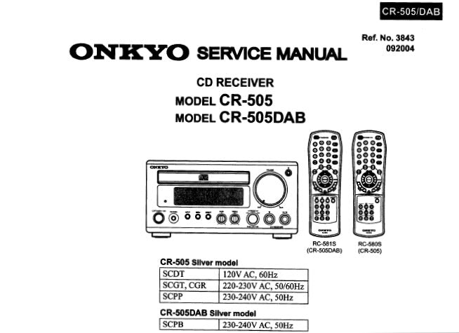 ONKYO CR-505 CR-505DAB CD RECEIVER SERVICE MANUAL INC