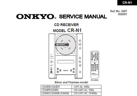 ONKYO CR-N1 CD RECEIVER SERVICE MANUAL INC SCHEM DIAGS PCB CONN DIAG PCBS MPROCESSOR CONN DIAG AND PARTS LIST 37 PAGES ENG