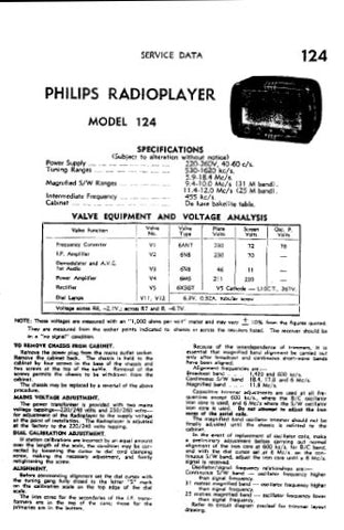 PHILIPS 124 RADIOPLAYER SERVICE DATA INC SCHEM DIAG AND PARTS LIST 4 PAGES ENG