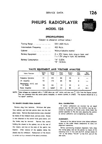 PHILIPS 126 RADIOPLAYER SERVICE DATA INC SCHEM DIAG AND PARTS LIST 4 PAGES ENG
