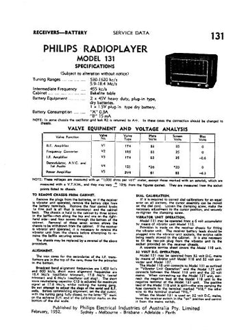 PHILIPS 131 RADIOPLAYER SERVICE DATA INC SCHEM DIAG AND PARTS LIST 4 PAGES ENG