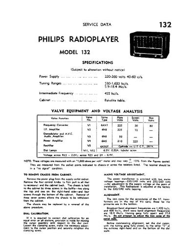 PHILIPS 132 RADIOPLAYER SERVICE DATA INC SCHEM DIAG AND PARTS LIST 4 PAGES ENG
