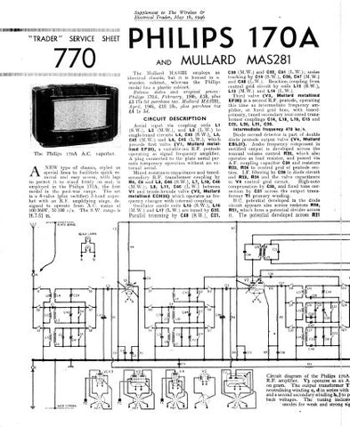PHILIPS 170A SUPERHET RADIO SERVICE SHEET INC SCHEM DIAG 4 PAGES ENG