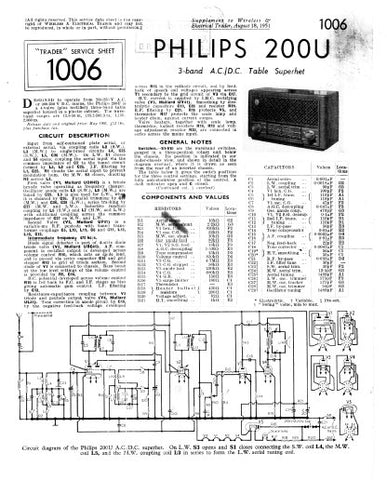 PHILIPS 200U 3 BAND AC DC TABLE SUPERHET RADIO SERVICE SHEET INC PCBS AND SCHEM DIAG 2 PAGES ENG
