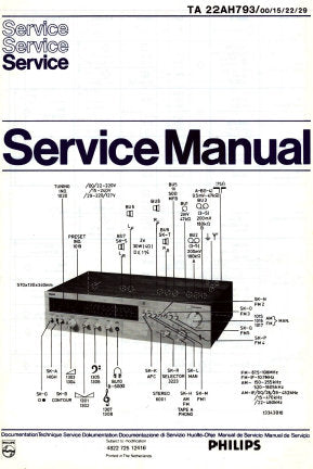 PHILIPS 22AH793 AM FM STEREO TUNER AMPLIFIER SERVICE MANUAL INC PCBS SCHEM DIAGS AND PARTS LIST 17 PAGES ENG DEUT FRANC NL SW DK ITAL NW SF