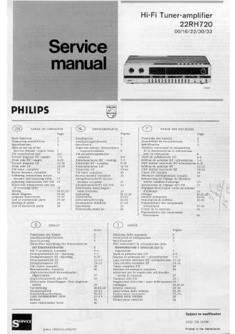 PHILIPS 22RH720 HIFI TUNER AMPLIFIER SERVICE MANUAL INC PCBS SCHEM DIAGS AND PARTS LIST 30 PAGES ENG DEUT FRANC NL ITAL