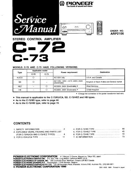 PIONEER C-72 C-73 STEREO CONTROL AMPLIFIER SERVICE MANUAL INC PCBS SCHEM DIAGS AND PARTS LIST 59 PAGES ENG