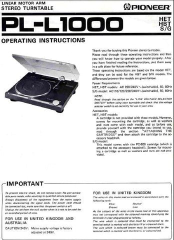 PIONEER PL-L1000 LINEAR MOTOR ARM STEREO TURNTABLE OPERATING INSTRUCTIONS 17 PAGES ENG
