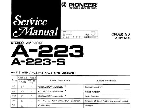 PIONEER A-223 A-223R STEREO AMPLIFIER SERVICE MANUAL INC SCHEM DIAGS PC BOARD CONN DIAG PCBS AND PARTS LIST 21 PAGES ENG