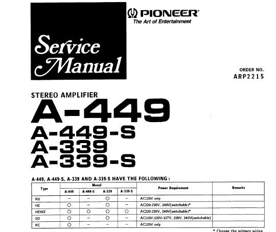 PIONEER A-339 A-339-S A-449 A-449-S STEREO AMPLIFIER SERVICE MANUAL INC SCHEM DIAGS PC BOARDS CONN DIAGS AND PARTS LIST 24 PAGES ENG
