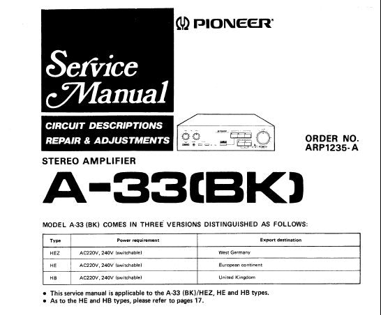 PIONEER A-33 STEREO AMPLIFIER SERVICE MANUAL INC PCBS SCHEM DIAGS AND PARTS LIST 16 PAGES ENG