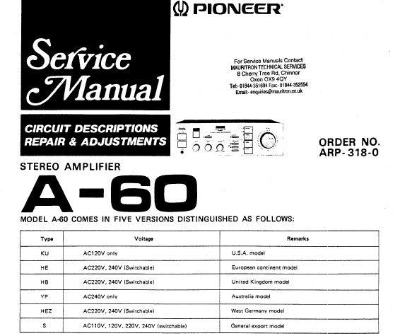PIONEER A-60 STEREO AMPLIFIER SERVICE MANUAL INC BLK DIAG PCBS SCHEM DIAG AND PARTS LIST 24 PAGES ENG