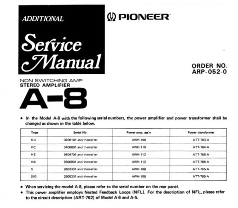PIONEER A-8 STEREO AMP ADDITIONAL SERVICE MANUAL SCHEMATIC DIAGRAMS PCBS  AND PARTS LIST 10 PAGES ENG