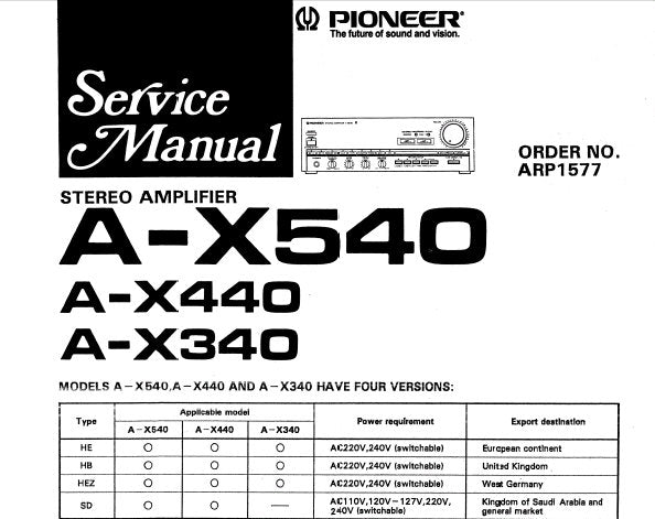 PIONEER A-X340 A-X440 A-X540 STEREO AMPLIFIER SERVICE
