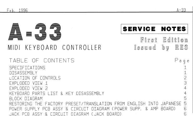 ROLAND A-33 MIDI KEYBOARD CONTROLLER SERVICE MANUAL INC BLK DIAG PCB'S CIRCUIT DIAGS AND PARTS LIST 11 PAGES ENG