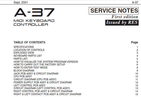ROLAND A-37 MIDI KEYBOARD CONTROLLER SERVICE NOTES INC BLK DIAG PCB'S CIRCUIT DIAGS AND PARTS LIST 15 PAGES ENG