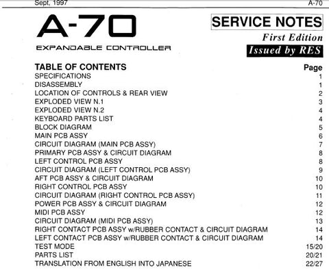 ROLAND A-70 EXPANDABLE CONTROLLER SERVICE NOTES INC BLK DIAG PCB'S CIRCUIT DIAGS AND PARTS LIST 27 PAGES ENG